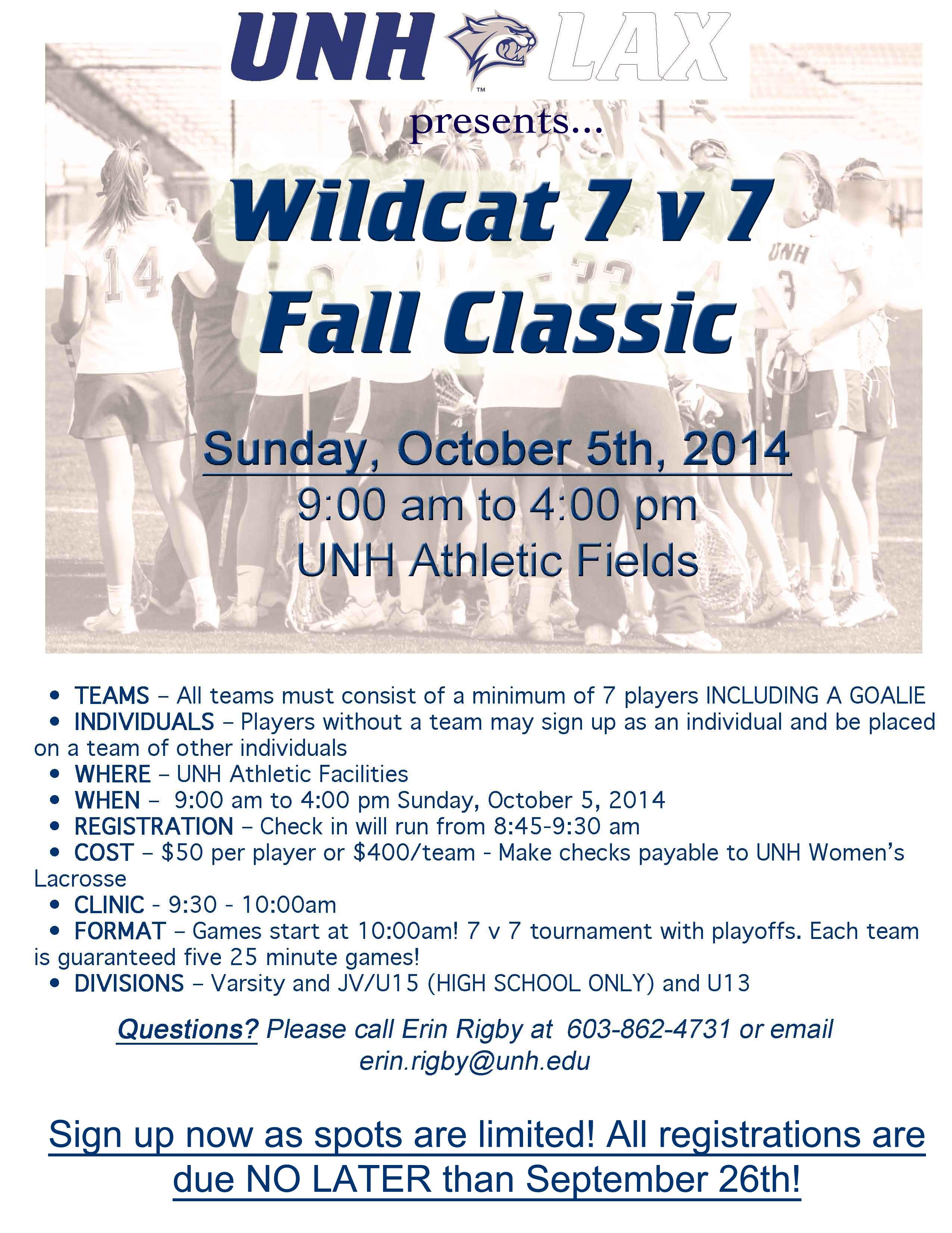 UNH Fall Classic 7 v 7 flyer